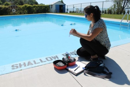 Public health inspector testing pool chemicals