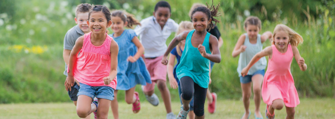 Young children running