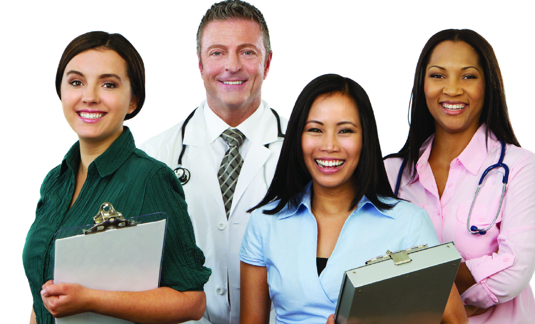 Various health care professionals standing in a group