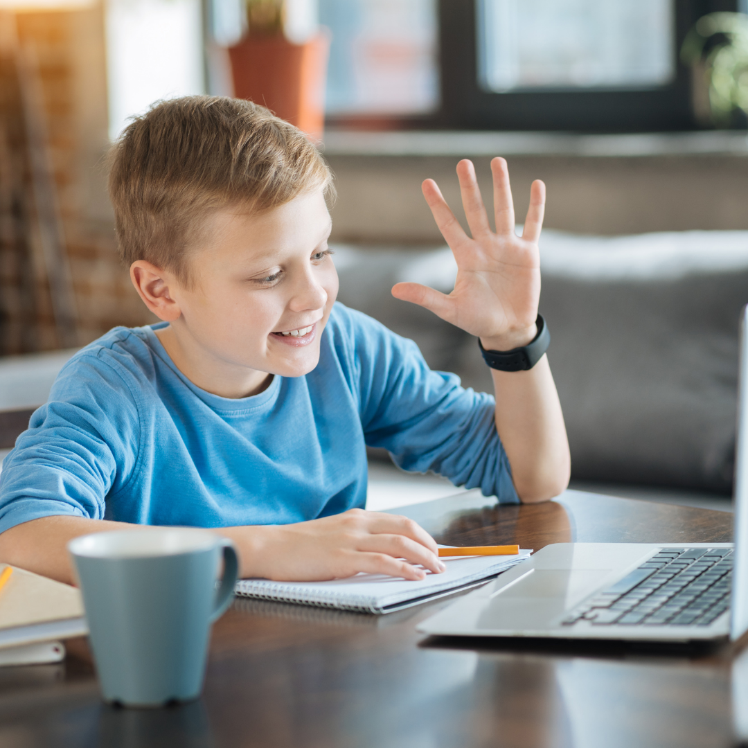 young boy online learning